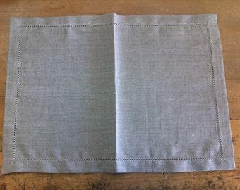 French Linen Monogrammed Placemats Set of Two 50 x 35cm Weddings, Anniversaries, Newborns, Housewarmings, Birthdays, Engagements