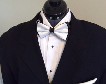Black and White Satin Pre-Tied Bow Tie.