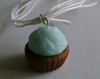 Handcrafted Fimo Glitter Blue Icing Cupcake Necklace