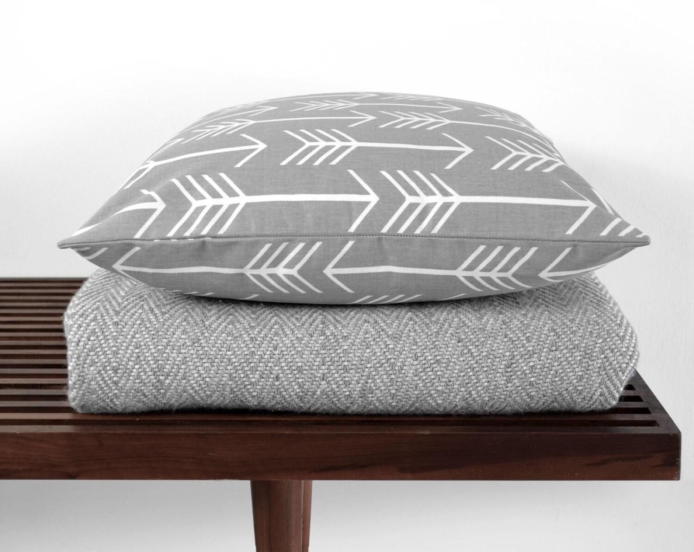 Etsy White Throw Pillow : modern throw pillow gray white arrow by twigandnest on Etsy