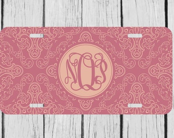 Personalized Monogrammed Damask License Plate Car Auto Tag Custom Monogram L484