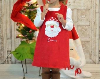 Red Cord Santa Dress, Santa Dress, Christmas Dress, Red Cord Dress,Applique Embroidered Dress Aline Dress