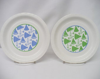"Cheer Megaphones Lime Green & Blue 9"" or 7"" Paper Plates--Will Customize with Your Team Colors"