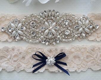 Wedding Garter Set, Navy Blue Wedding Garter, Ivory Lace Garter Set - Style L200