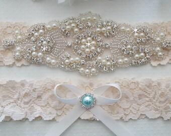 Wedding Garter Set, Bridal Garter, Ivory Lace Garter, Vintage Lace Garter - Style L225