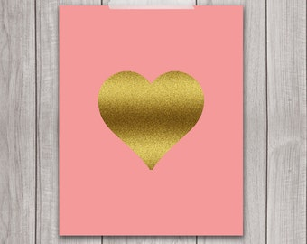 Printable Art - 8x10 Heart Print, Inspirational Print, Gold Heart, Coral, Wall Art, Heart of Gold, Printable Nursery