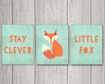 75% OFF SALE Stay Clever Little Fox (Set of 3) - 8x10 Fox Nursery Decor, Nursery Art, Nursery Decor, Woodland Nursery, Nursery Wall Decor