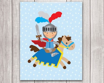 75% OFF SALE - Baby Boy Nursery Art - 8x10 Knight Art, Fairy Tale Art, Knight Nursery, Nursery Decor, Nursery Wall Art