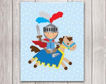 Baby Boy Nursery Art - 8x10 Knight Art, Fairy Tale Art, Knight Nursery, Nursery Decor, Nursery Wall Art