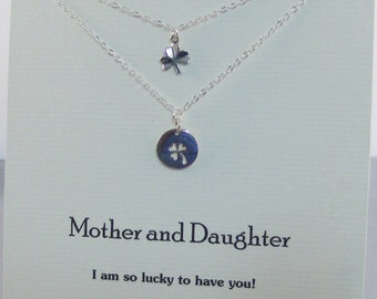 Mother Daughter,Lucky,Shamrock,Shamrock Necklace,Irish Necklace,Mom Necklace,Mother,Irish Necklace,Irish Mother,Irish Mom,Shamrock,Clover
