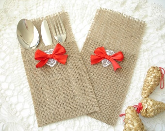 set of 12 burlap silverware holder wish lace and bow christmas silverware holder