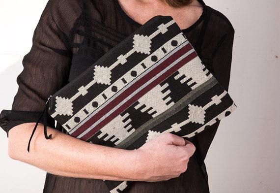 Ethnic aztec clutch for women. Boho bag.