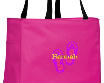 Personalized Flip Flop Beach Tropical Pink Essential Tote with FREE Personalization & FREE SHIPPING    B0750