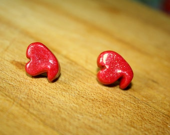 Bright Red Heart Earrings