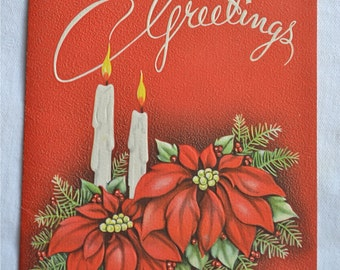 Vintage Christmas Card  - Embossed Candles and Poinsettias - Unused