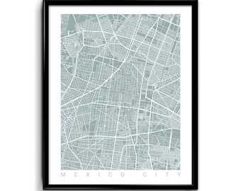 Mexico City Map Art / Mexico City Print Art Mexico Poster Wall Art / Line Art / Choose Size and Color