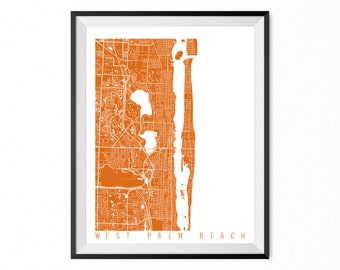 WEST PALM BEACH Map Art Print / Florida Poster / West Palm Beach Wall Art Decor / Choose Size and Color