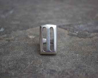 Substantial Sterling Rectangle Ring