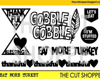The Eat More Turkey cut file, includes 7 Thanksgiving themed icons, that can be used on your scrapbooking and papercrafting projects.
