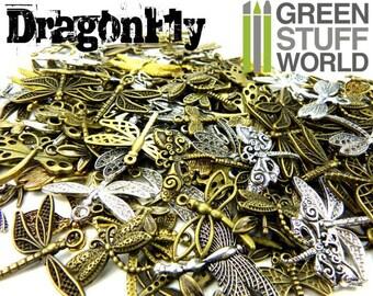 Set 85gr. - DRAGONFLY Beads Mix - 40-50 units - sizes 1.5-3cm - Dragonflies Steampunk set