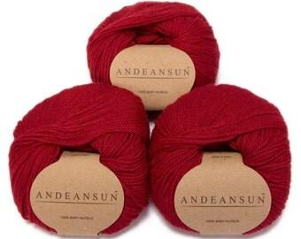 100% Baby Alpaca Yarn Skeins. Set of Three. Red 2015
