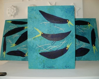 12 Grackles Triptych Acrylic Painting