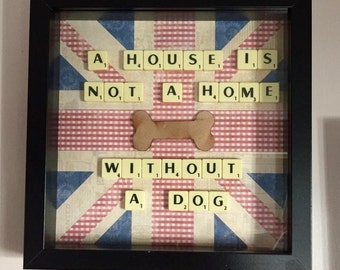 Dog lovers frame. Dog lover. Pet lover. Dog quote. Gift frame. Scrabble art. choice of dog quotes