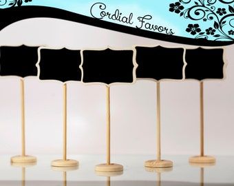 SALE - 5 Mini Chalkboard with Stands - Shabby Chic for wedding,buffet and food signage,labels,place settings,table numbers,party decorations