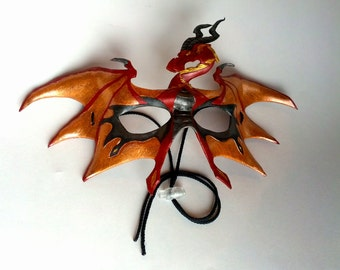 Flame Leather Winged Dragon Mask Dragon Wing Mask Dragon Fire Mask