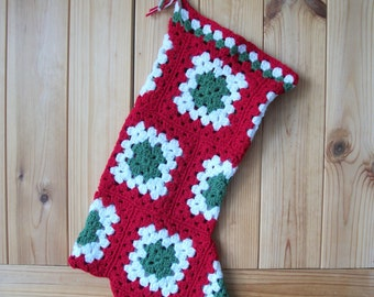 "Crochet granny square Christmas Stocking, red, white and green, approx 20"" long x 7"" wide."