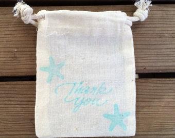 10 Starfish Thank You Bag, Beach Wedding Favor Bag, Beach Wedding Thank You Bag, Thank You Bags, Small Thank You Bags