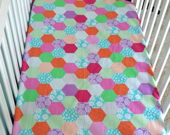 Crib Fitted Sheet / Baby Crib Sheets / Aqua Crib Sheet / Green Crib Sheet / Cute Patchwork