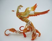 Phoenix bird  - original handmade OOAK, Statuette Fire bird Figurine Statue Figure Fantasy Bird Skulpture Gold Orange Red Yellow Creature