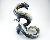 Dragon statue sculpture Figurine Dragon figure OOAK Fantasy Creature Blue Animal art sculpture