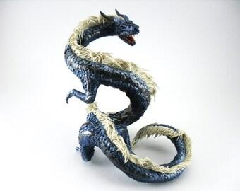 Dragon statue sculpture Figurine Dragon figure OOAK Fantasy Creature Blue Animal art sculpture