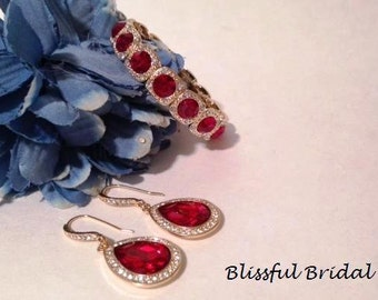 Red Bridesmaids Earrings, Red Jewelry Set, Bridesmaids Jewelry Set, Wedding Jewelry Set, Red and Gold Jewelry Set, Bridesmaid Jewelry