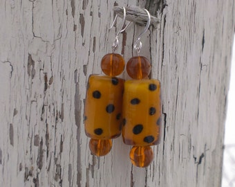 Funky Lampworked Glass Bead Earrings - Amber Brown/Opaque with Black Spots- BEAUTIFUL!