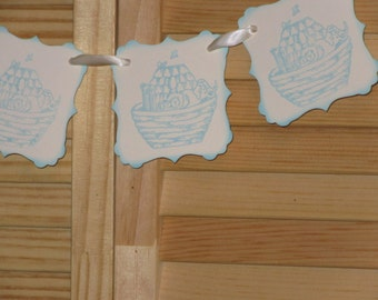 Baby Shower Banner, Noahs Ark Baby Shower Banner, Garland, Blue Baby Shower Banner, Blue Noahs Ark Banner, Nursery Banner