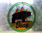 "Stained Glass ""Bear Archery"" Logo. Awesome 16"" round light catcher"