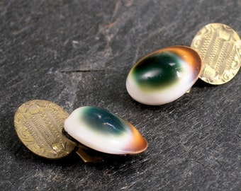 Antique cats eye and gold filled cufflinks