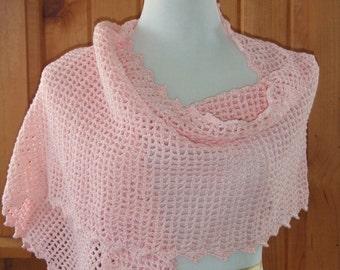 Lacy open stitch shawl, crochet wrap, pink blush, soft oversize scarf, elegant, formal, bohemian