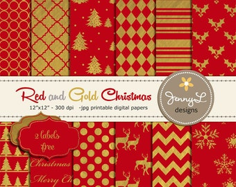 Red and Gold Christmas Digital Papers, Red and Gold Digital Papers, Gold Christmas Papers, Holiday Paper, Red Christmas Papers,