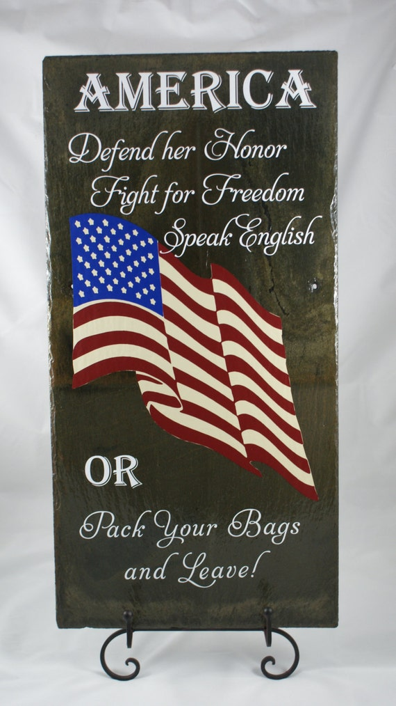 AMERICANA SLATE - Patriotic Sign - American Flag - Proud American - Patriot Gift - Decorative Slate - Red, White, and Blue - Porch Sign