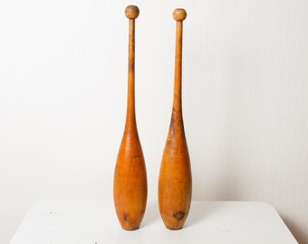 SALE... Set of 2 Antique wooden Mace, equipment for Rhythmic gymnastics (CI485)