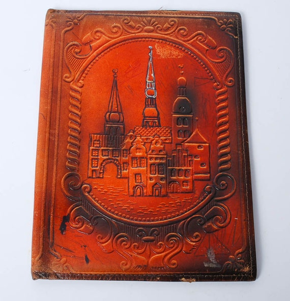 Vintage Leather Book Cover : Vintage brown leather book cover ci