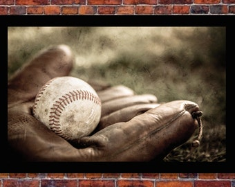 Vintage Baseball and Glove | Choose Size, Unframed | Birthday, Holiday Gift