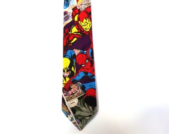 Marvel Necktie Comic Book Hulk Spiderman Wolverine Iron Man Captain America DC Colorful Cotton Fathers Day Gift Father Teacher Avenger Tie