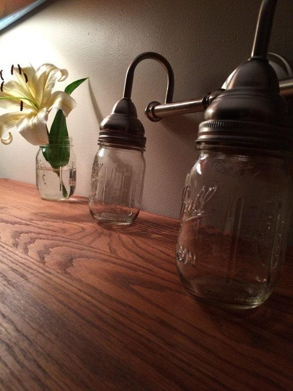 Jar Vanity Lights : Items similar to 2 Light Mason Jar Vanity Light Nickel Finish on Etsy