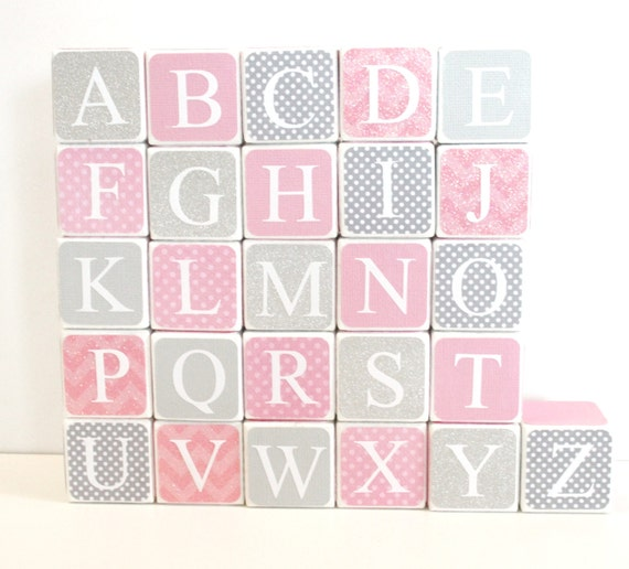custom baby alphabet blocks nursery baby shower by sweetsagestudio
