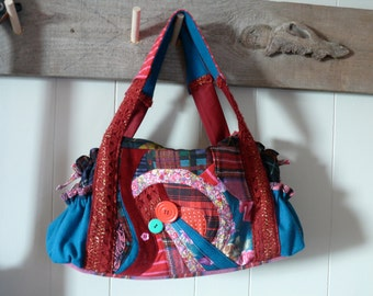Burgundy upcycled patchwork handbag